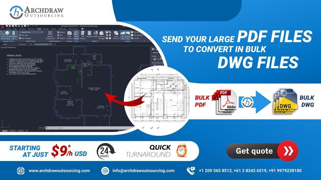 Bulk PDF to CAD Drawings Conversion