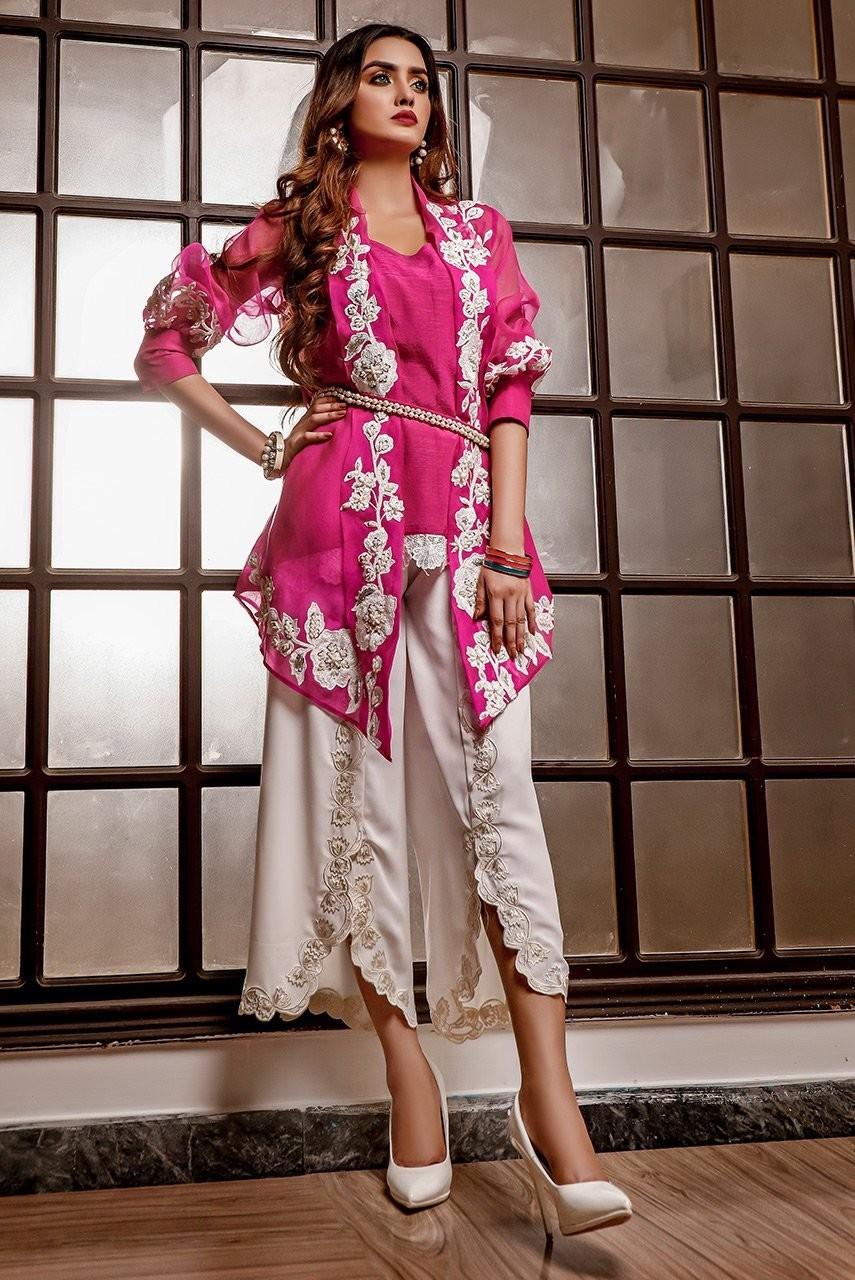 lf147 - Pink Organza Jacket - Ayesha Ibrahim
