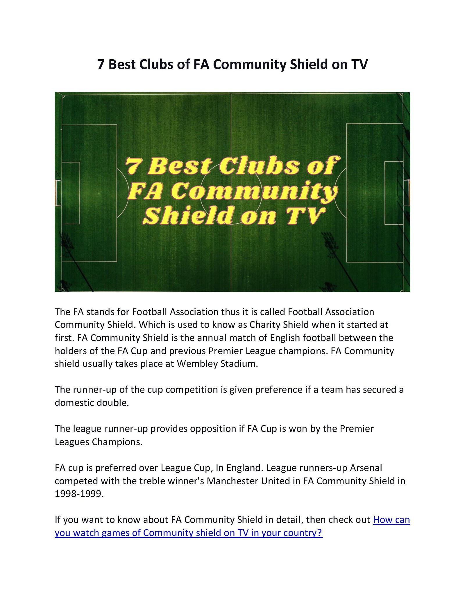 7 Best Clubs of FA Community Shield on TV