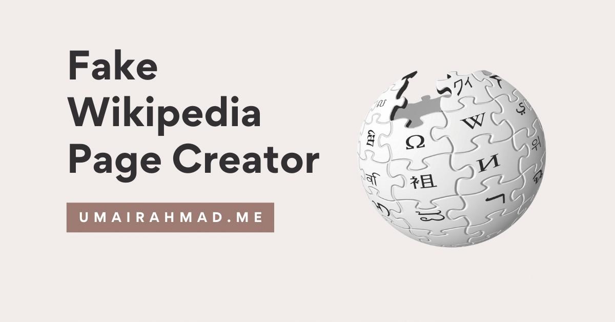 Fake Wikipedia Page Creator