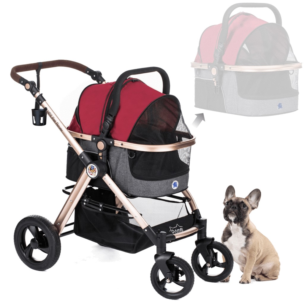 Luxury 3-In-1 Stroller For Small/Medium Dogs, Cats And Pets (Ruby Red)