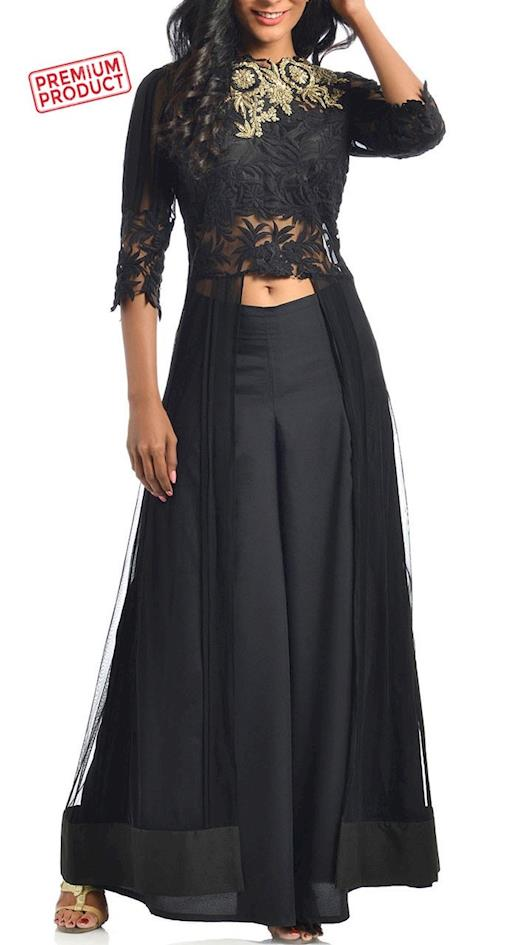 Black Designer Palazzo Pant With Embroidery Work Jacket Style Kameez