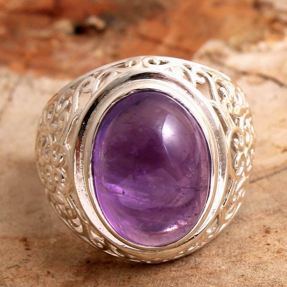 Amethyst Gemstone Solid Ring