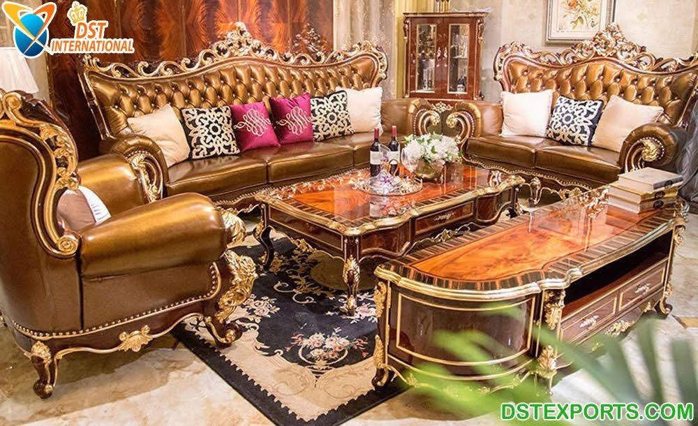 Royal Gold Carved Teak Wood Sofa Set