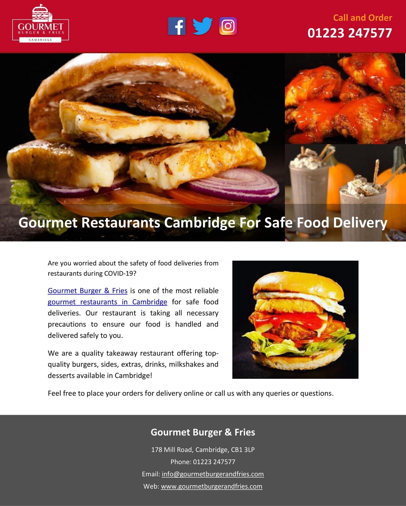 Gourmet Restaurants Cambridge For Safe Food Delivery