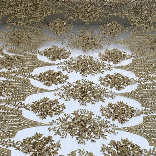 Click or scroll to zoom Dark Gold Or Taupe Design Beaded Lace Fabric By The Yard - IceFabrics Click