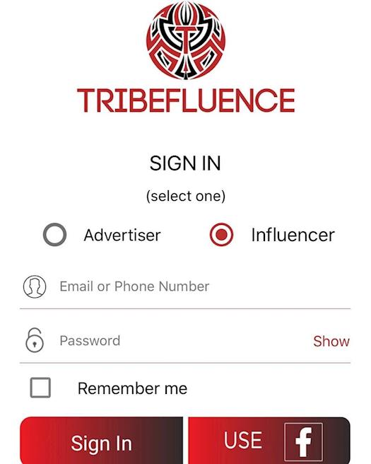 Check out the new Tribefluenceapp sign and design with Facebook login
