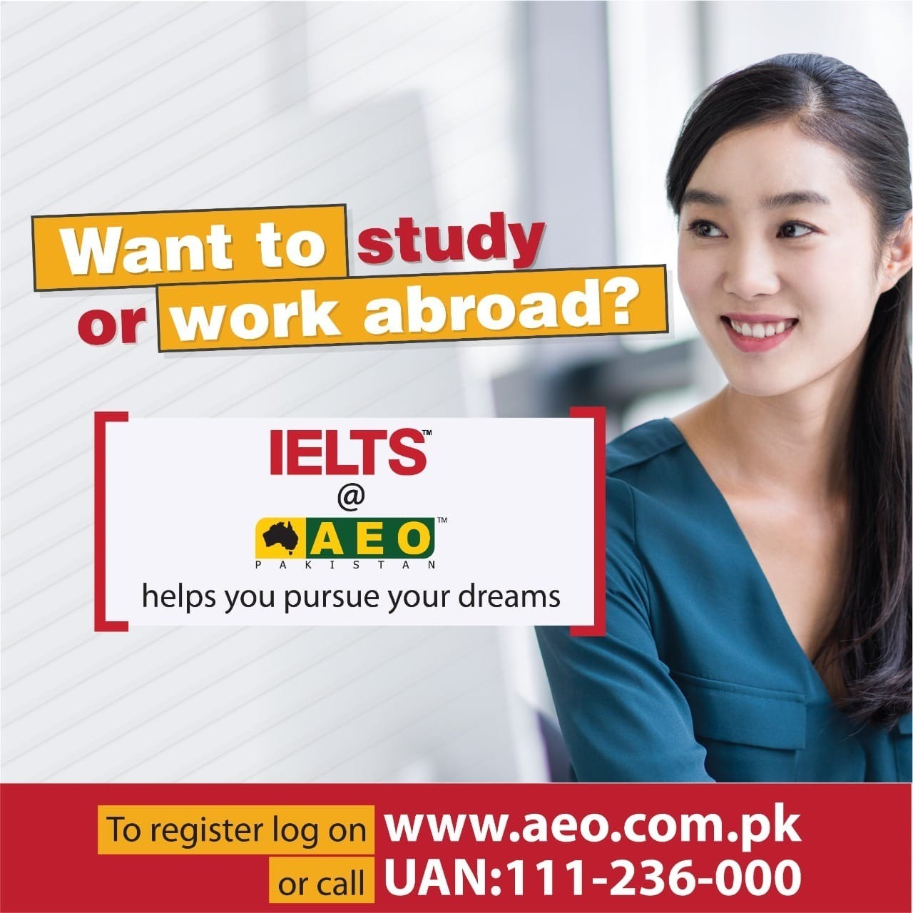 Want to study or work abroad? IELTS at AEO Pakistan helps you pursue your dreams.