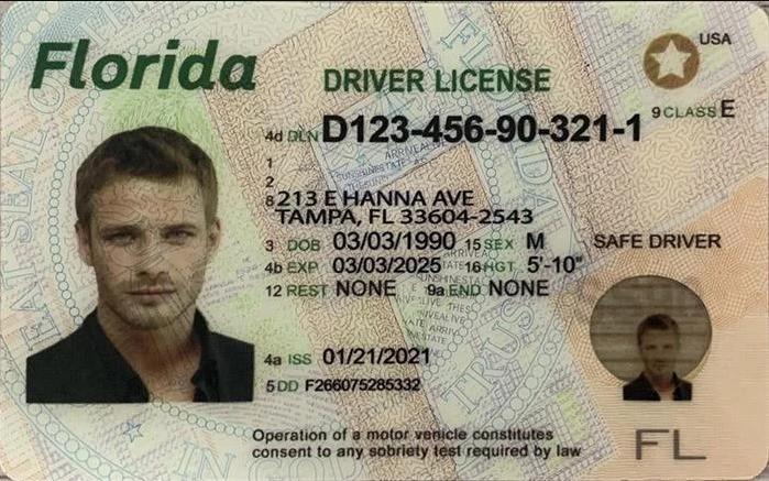 Florida FL DMV Driver License and Non driver Fake Identification Card