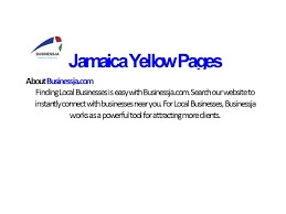 BusinessJA is a Business Internet Directory. We offer personalized listings for YOUR business.