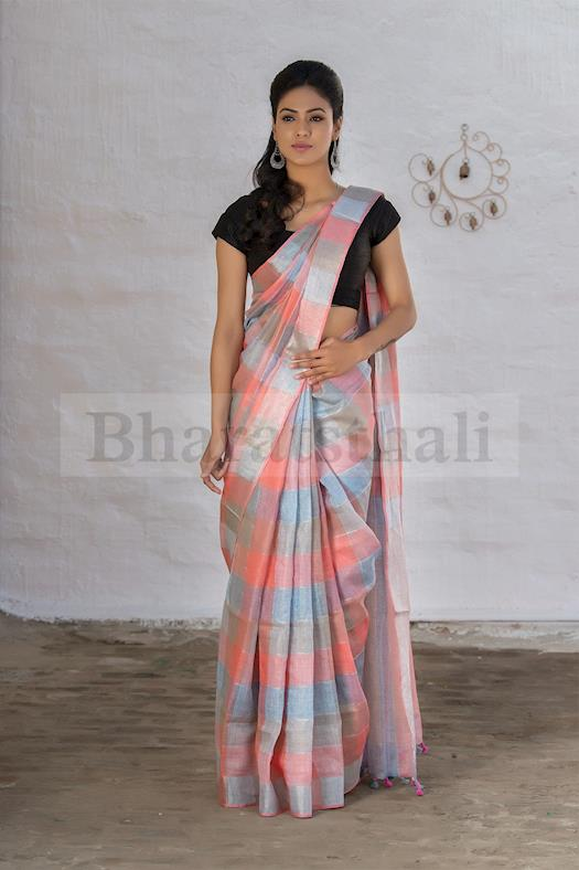 White Cream Brown And Pink Pure Linen Handloom Saree