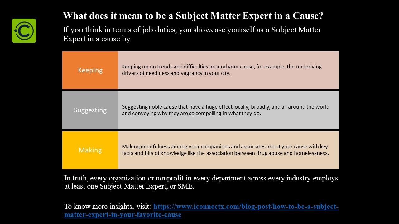 Subject Matter Expert in a Cause
