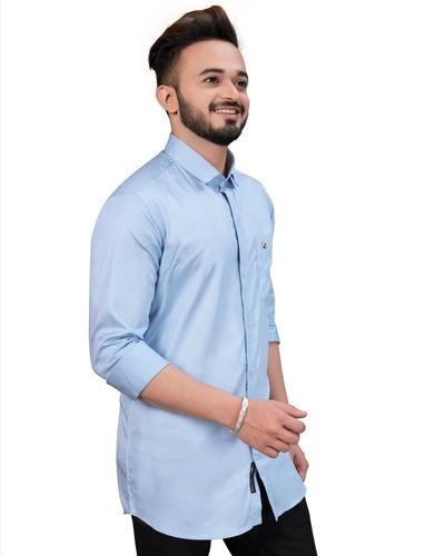 plain light blue shirt for men