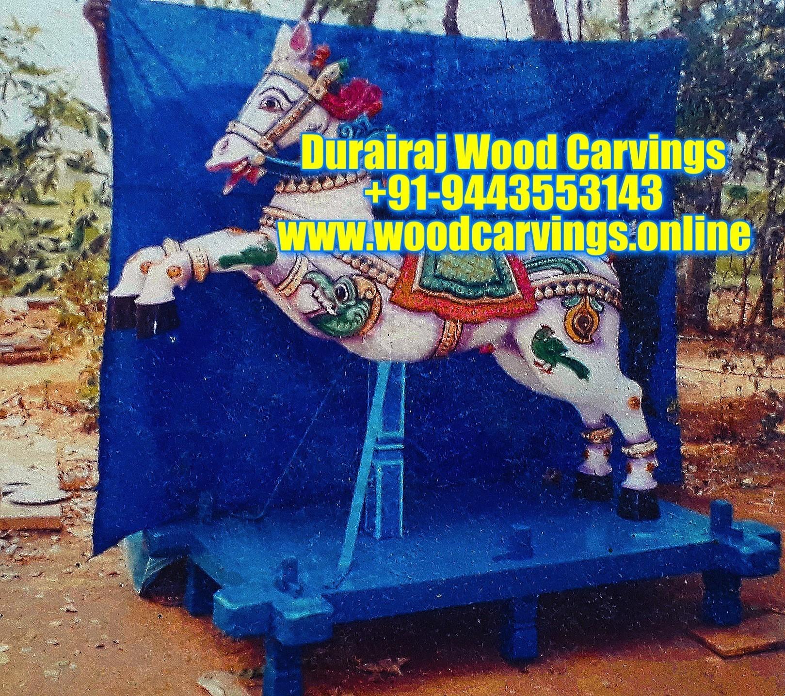 wooden horse statue Temple Vahanam