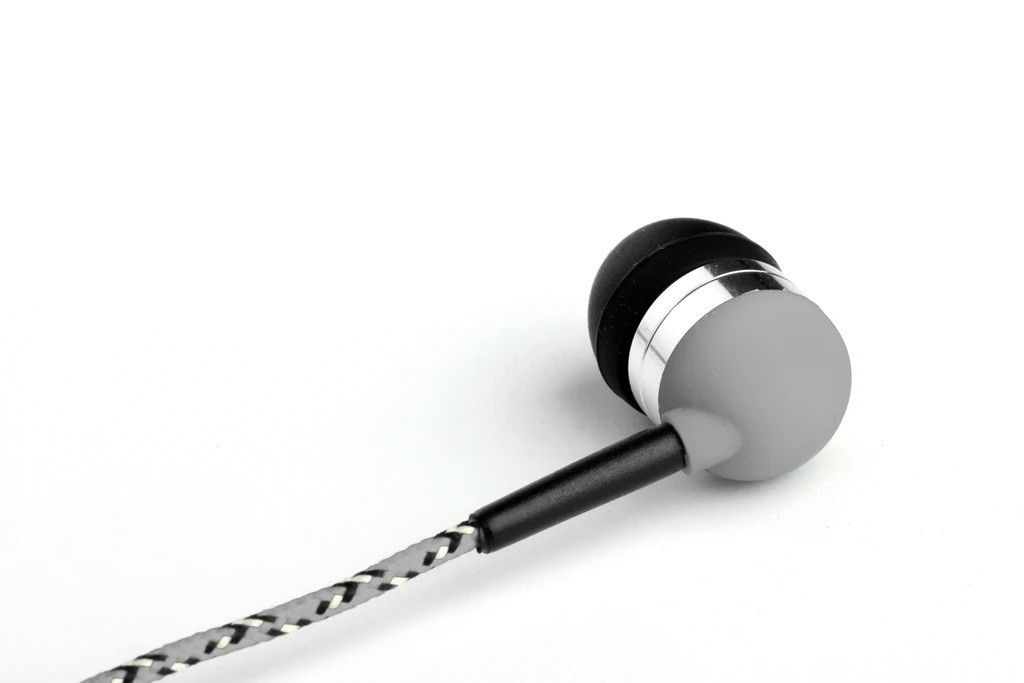 Grey Earbuds with Microphone & Remote Control Key