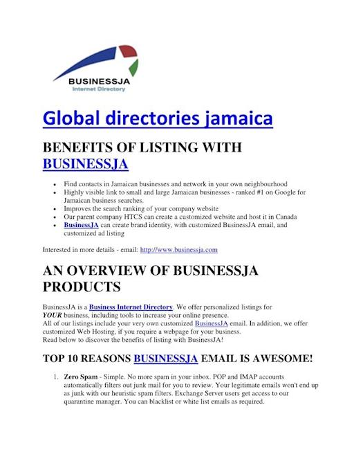 BusinessJA can provide information on global directories in Jamaica