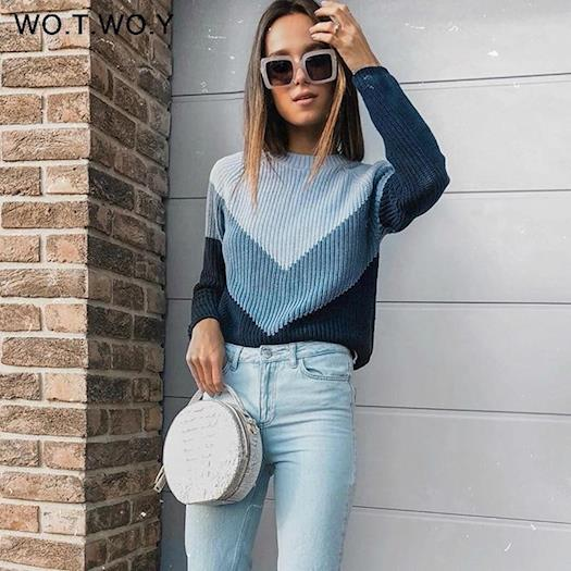 Contrast color sweater