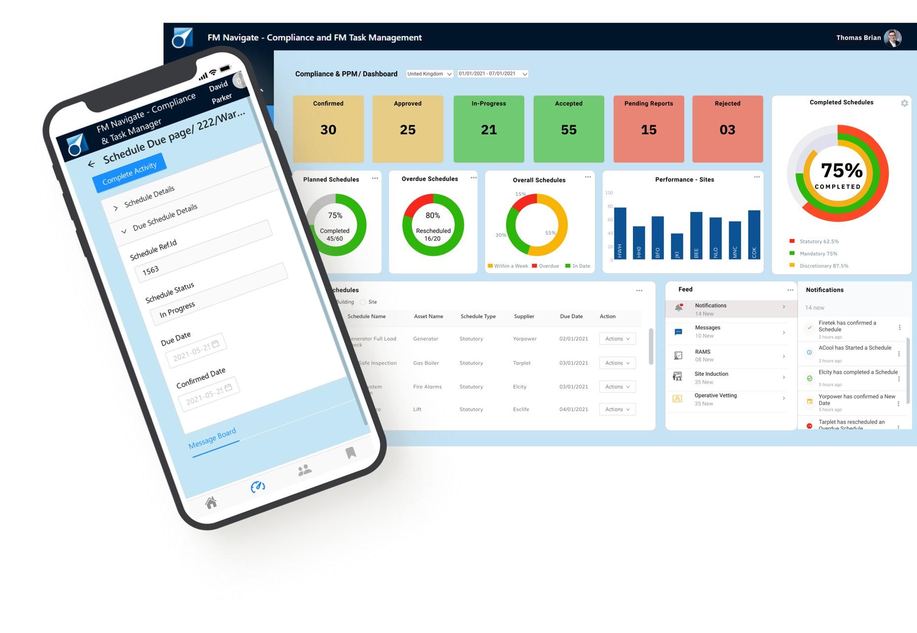 FM Navigate Compliance - Task Management-Facilities Management Software-Dashboard