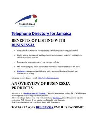 BusinessJA is a Business Internet Directory. We offer Telephone Directory for Jamaica.