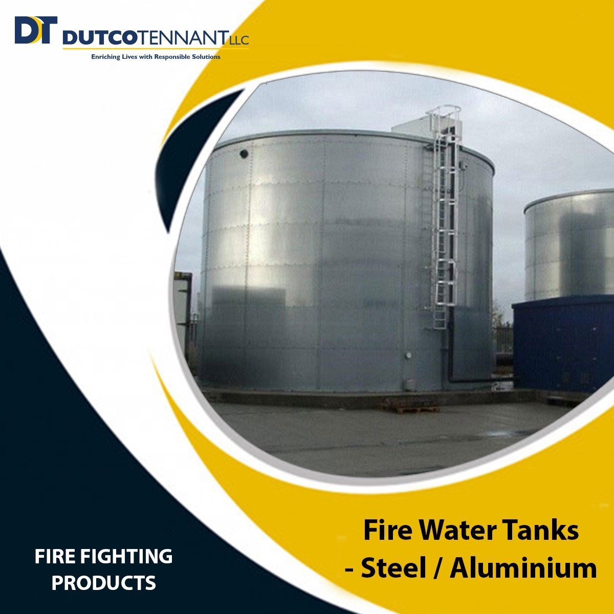 Standard sized and large sized approved Fire Water Tanks being supplied by Dutco Tennant