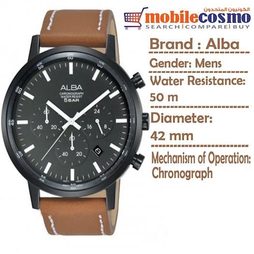 ALBA Prestige Chrono Brown Leather Black Dial
