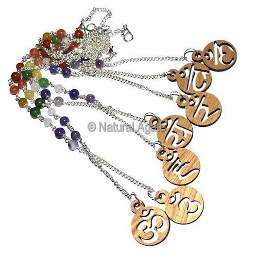 Acc Chain 033 7 Chakra Symbols Pendulum Chain And Bracelet