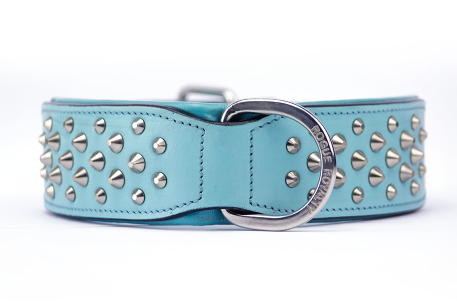 Baby Blue Leather Dog Collar