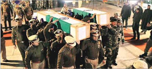 #CRPF Personnel Carry The #Coffins of Colleagues Killed in Pulwama Terror Attack in the Valley.