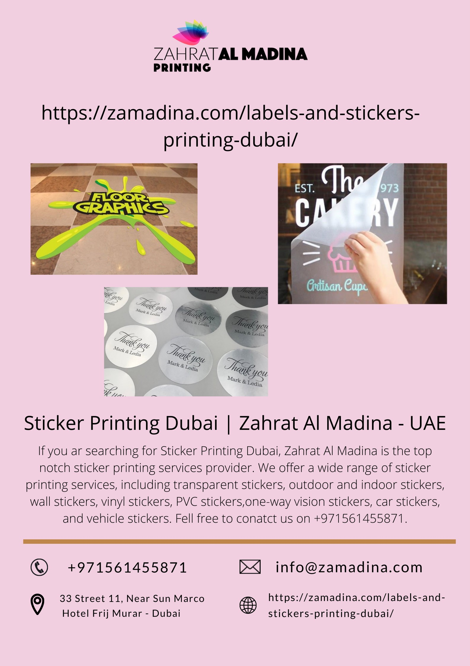 Sticker Printing Dubai | Zahrat Al Madina - UAE