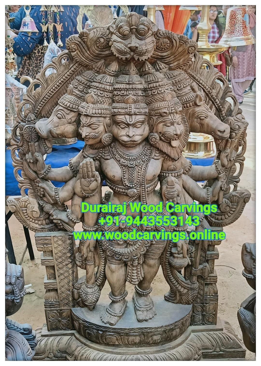 Panchamukhi hanuman wooden statue