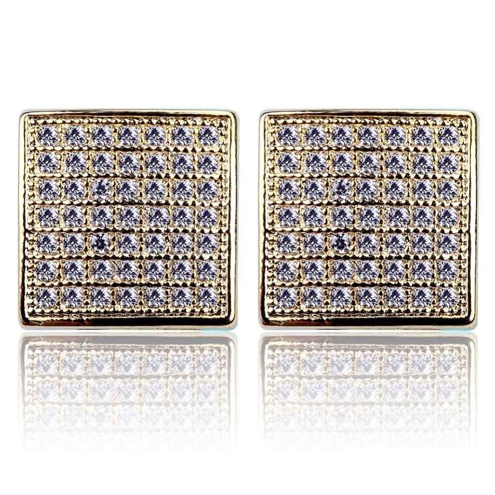 Iced Out Micro Pave Square Earring With Screw Back