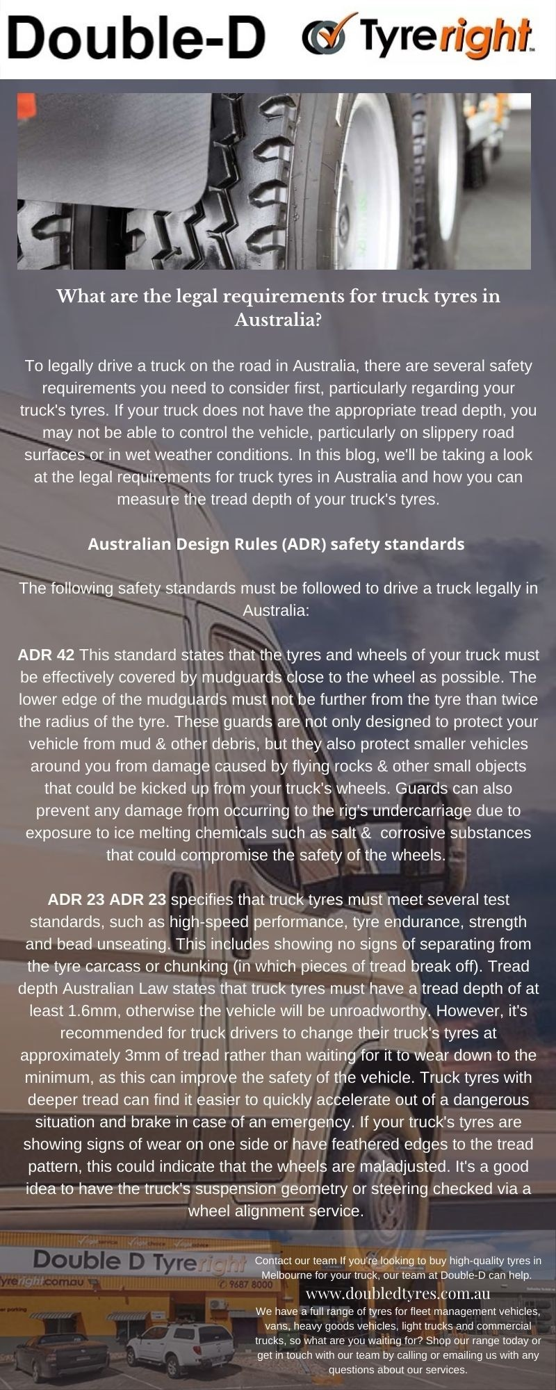 What are the legal requirements for truck tyres in Australia?