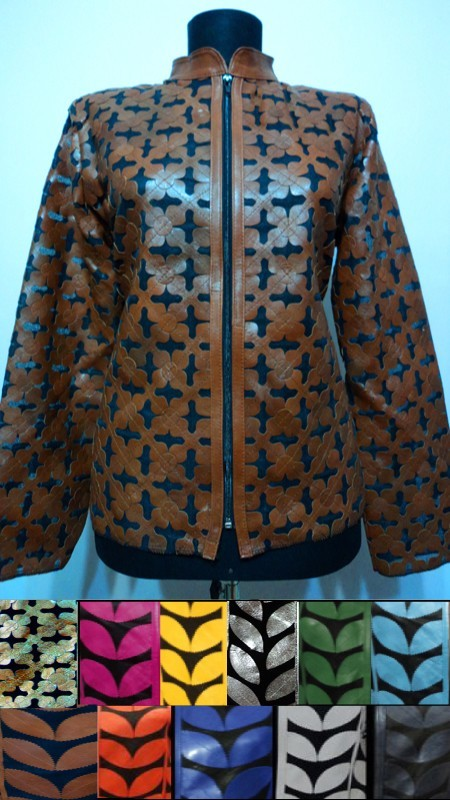 Leather Leaf Jacket for Woman