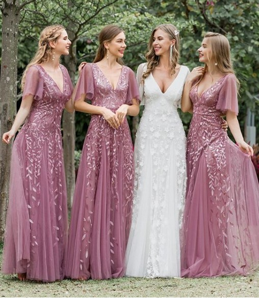 Deidre Flutter Sleeve Lace Wedding Dress with Sleeve in Ivory
