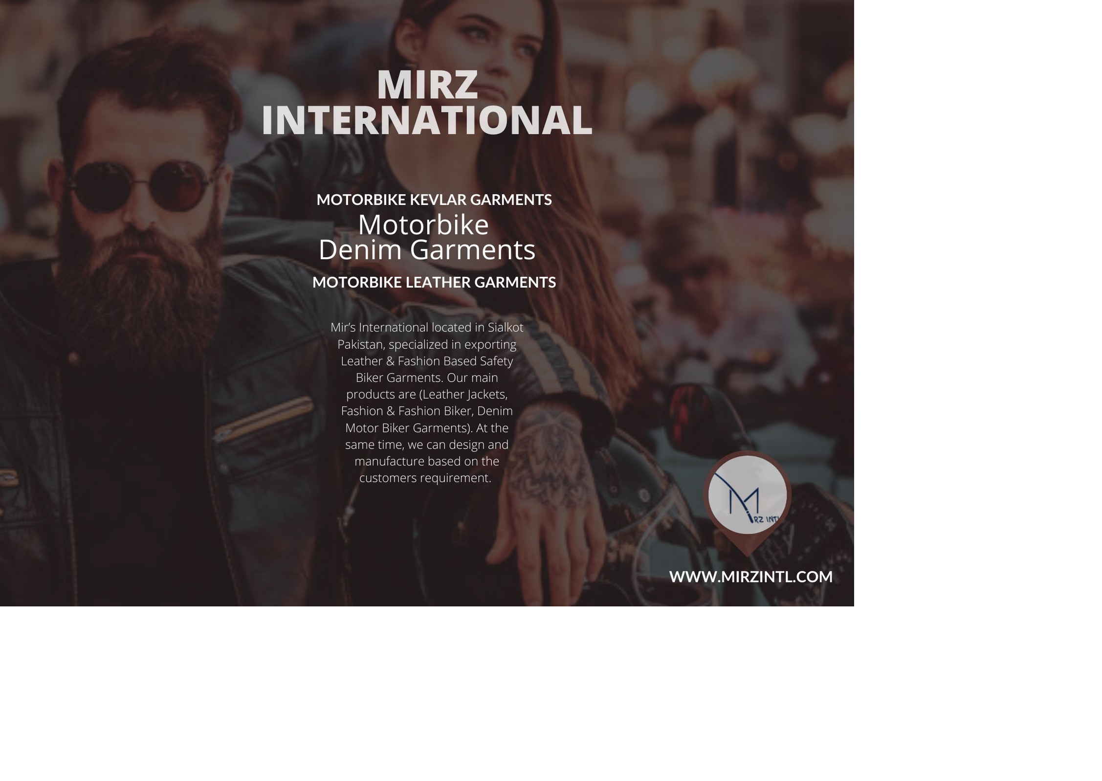 MIRZ INTL Leather and Kevlar Biker Garments