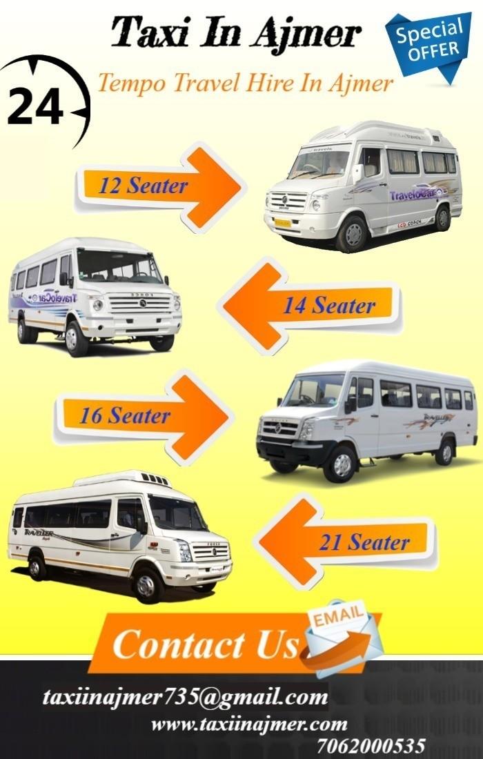 Tempo Traveller hire in Ajmer , Tempo Traveller Hire Rates in Ajmer