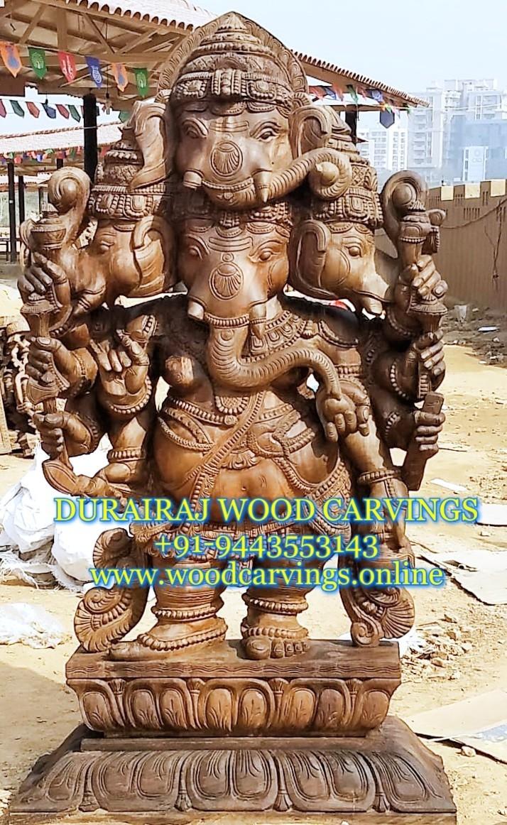 wooden ganesh statue panchamukhi fiveface