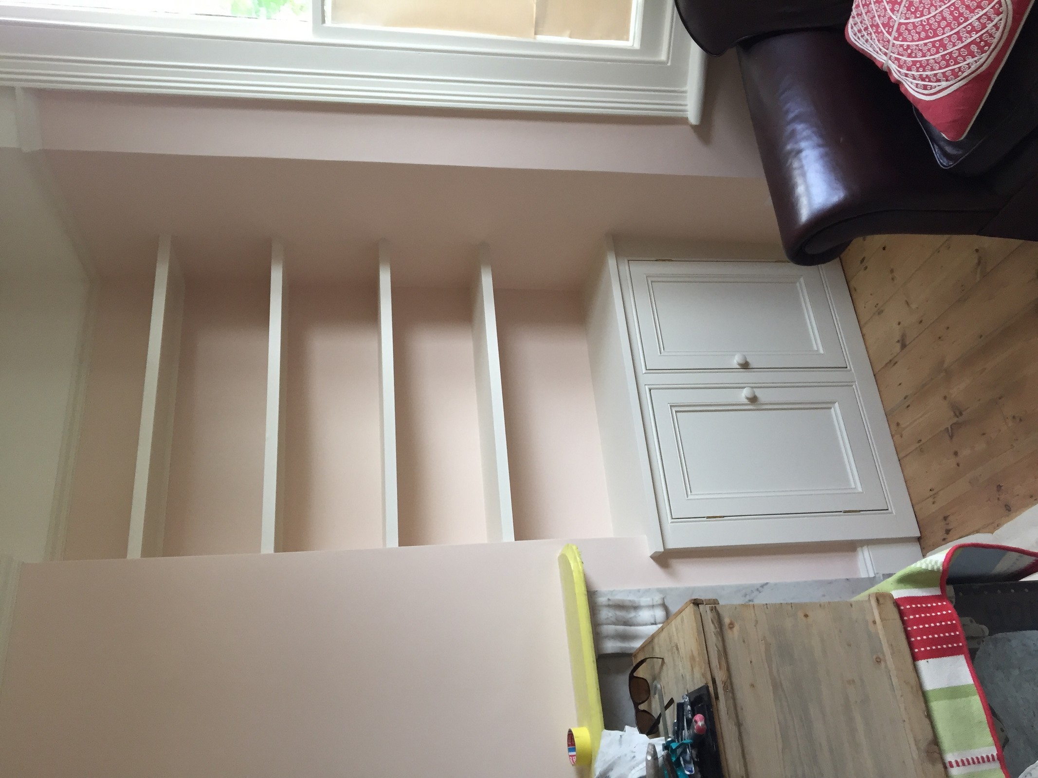 Hand Built Alcove MDF Cupboards With Bookcase in Herne Hill, London SE24