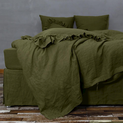 Buy 100% Linen Olive Green Duvet Cover from Linenshed.com.au