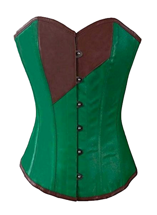 green and brown corset dress