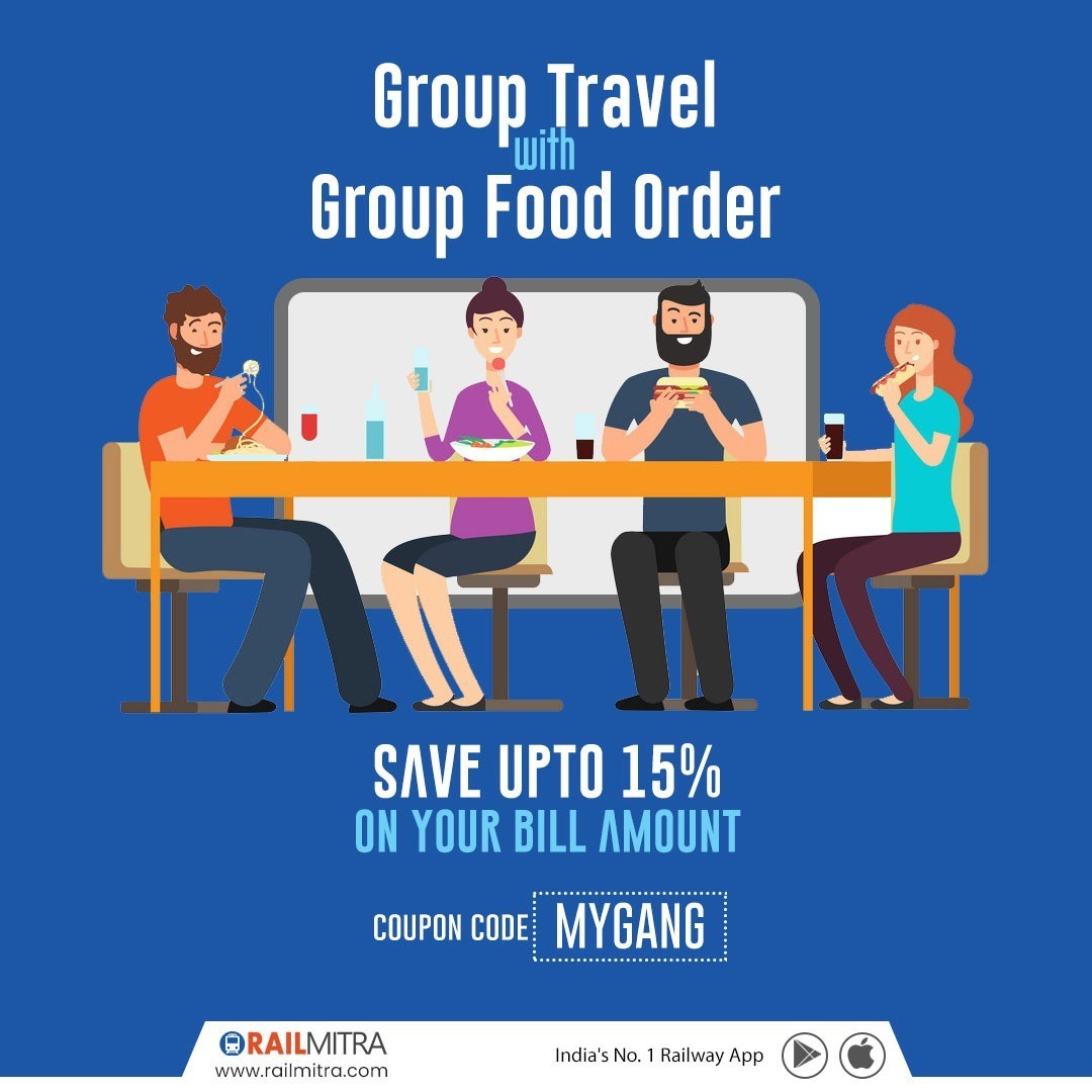 Get 15% Off ! On your Group Food, Order With RailMitra