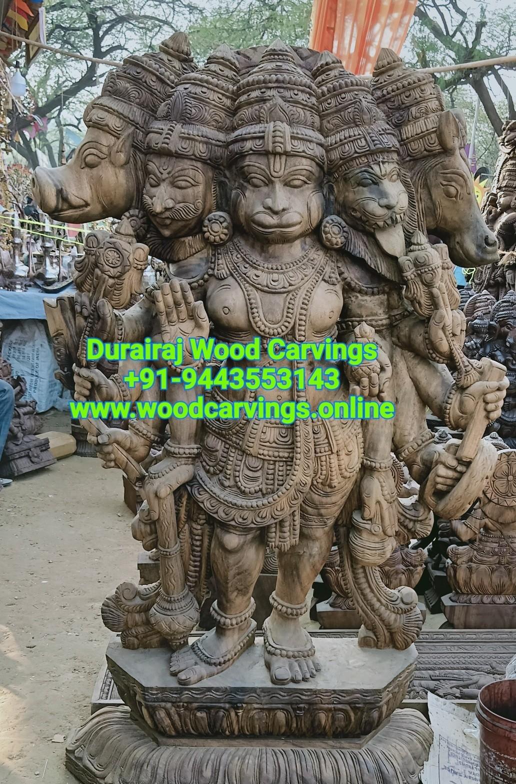 Panchamukhi Anjaneya wooden statue
