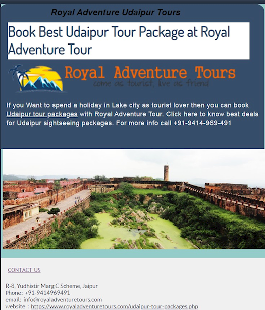 Book Best  Udaipur Tour Package at Royal Adventure Tour