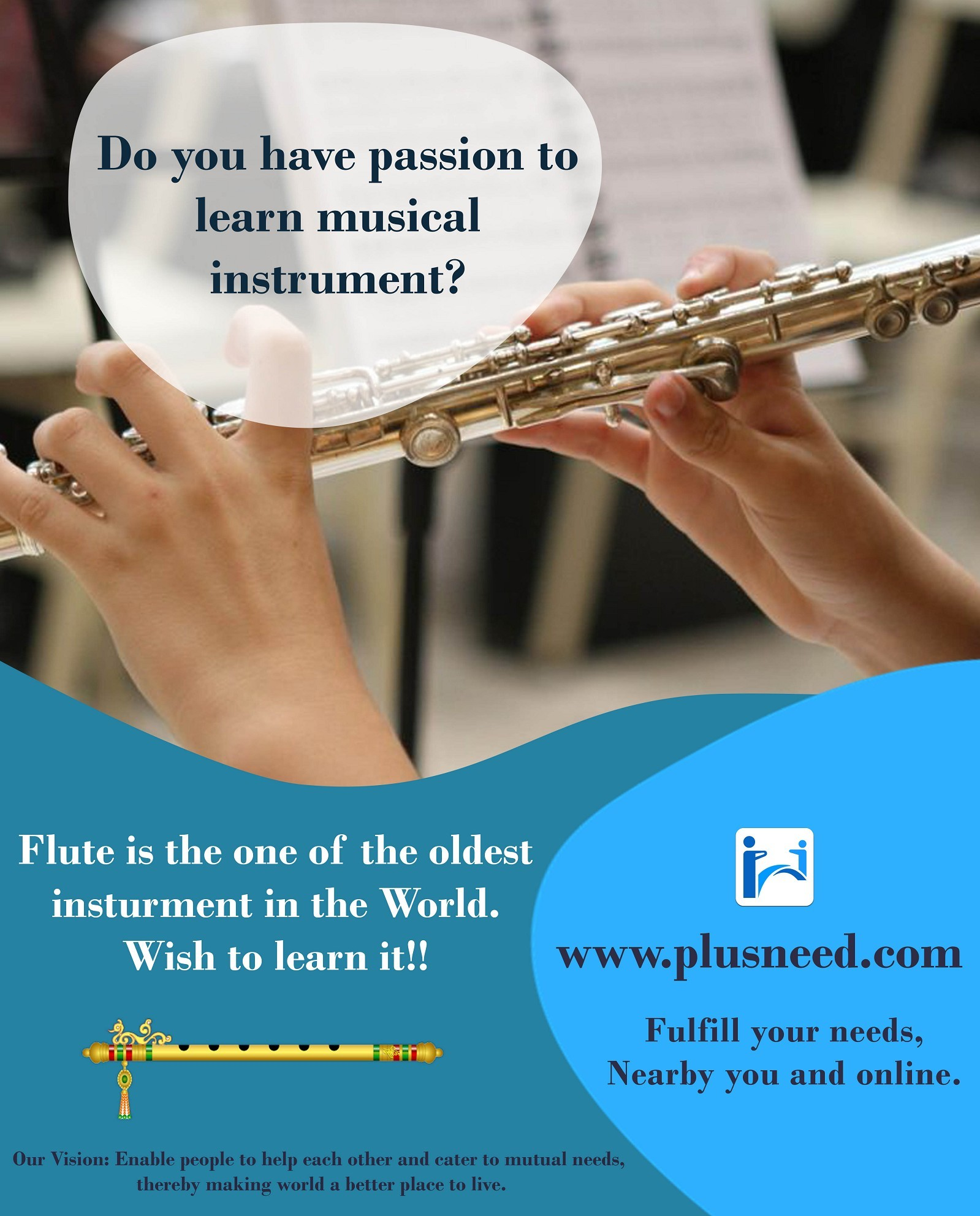 Learn to play Flute from the experts on PlusNeed.