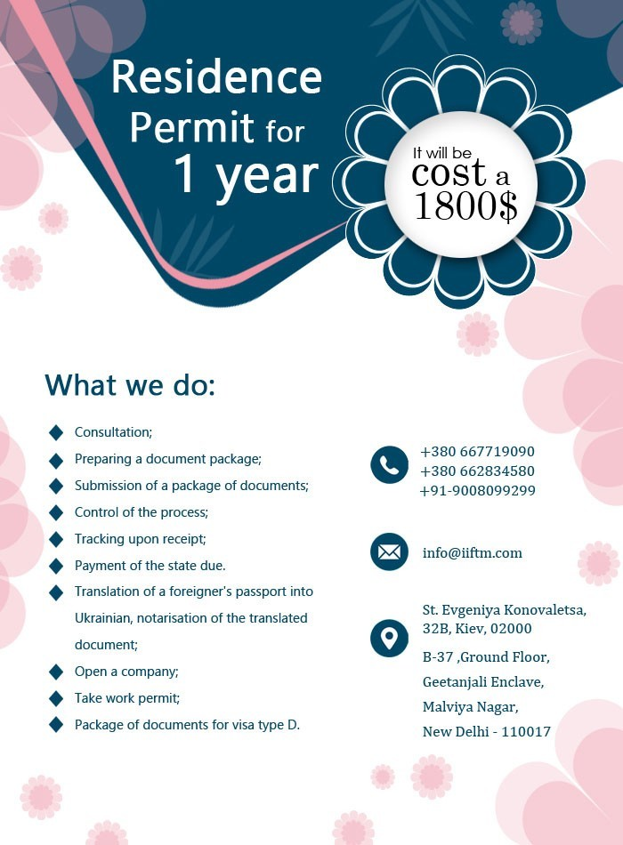 Residence Permit for 1 year 1800$.