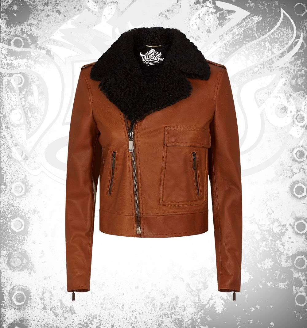 Devilson Shearling Women Brown Leather Jacket