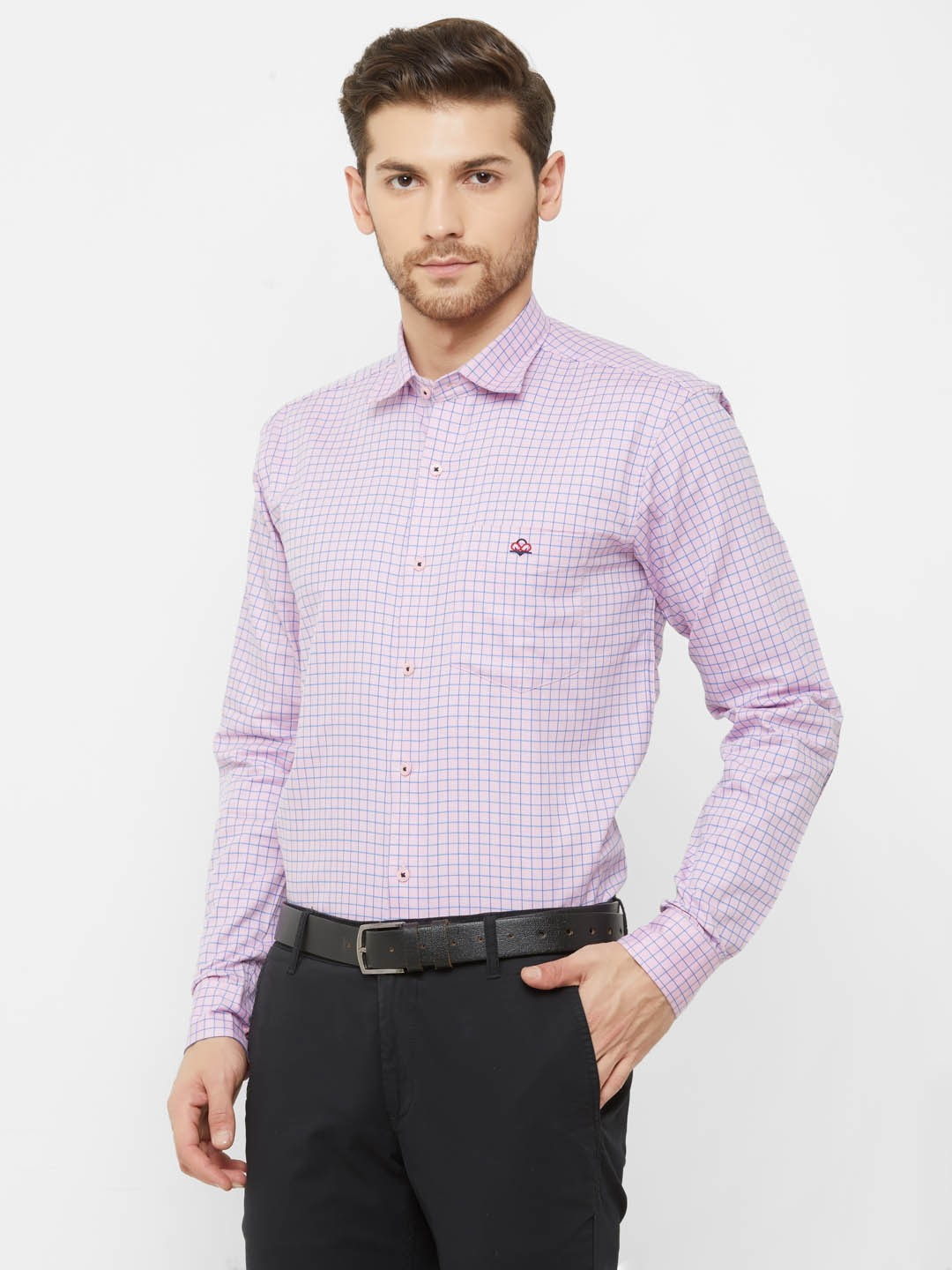 Men Pink Cotton Regular Fit Checked Formal Shirt
