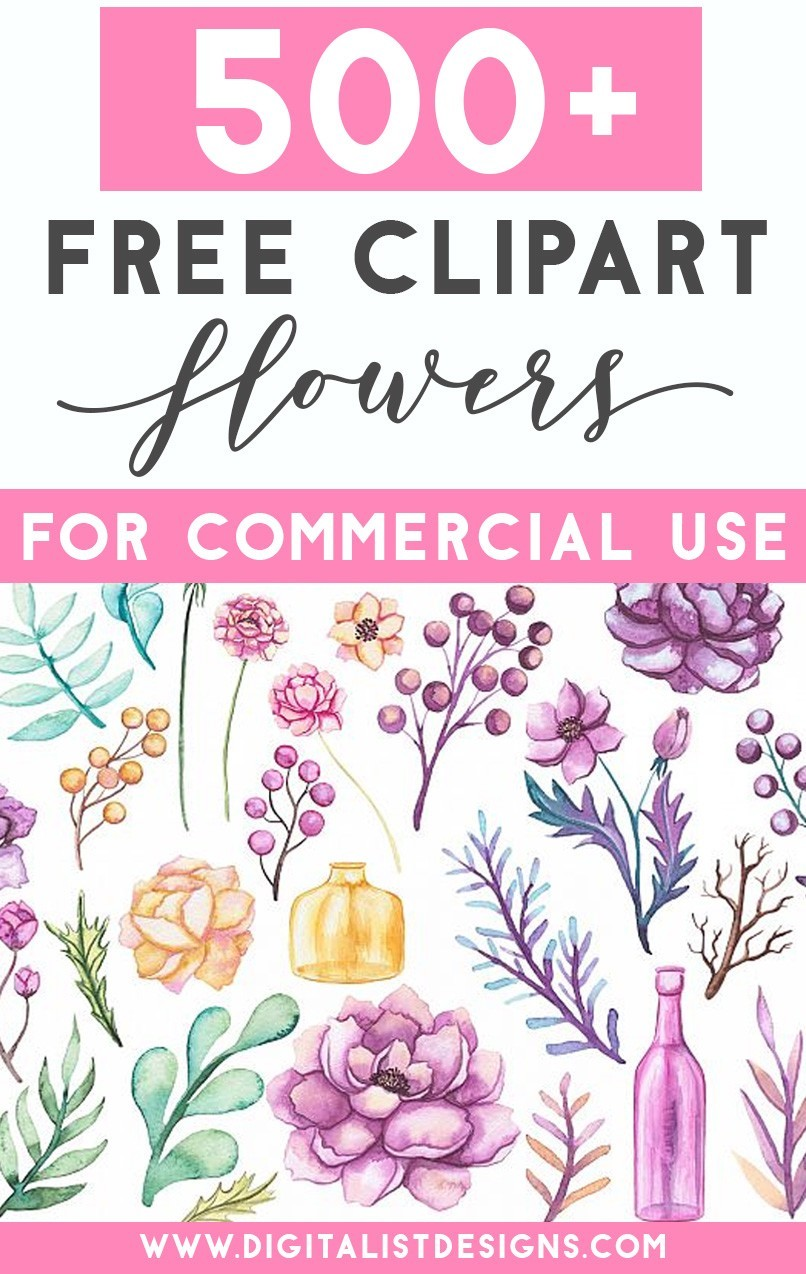 500 Free Clipart Flowers For Commercial Use