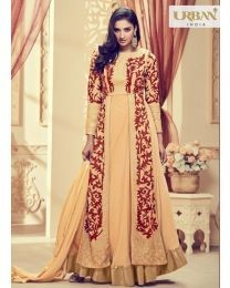 Light Beige Anarkali Suit in Georgette Fabric with Embroidery