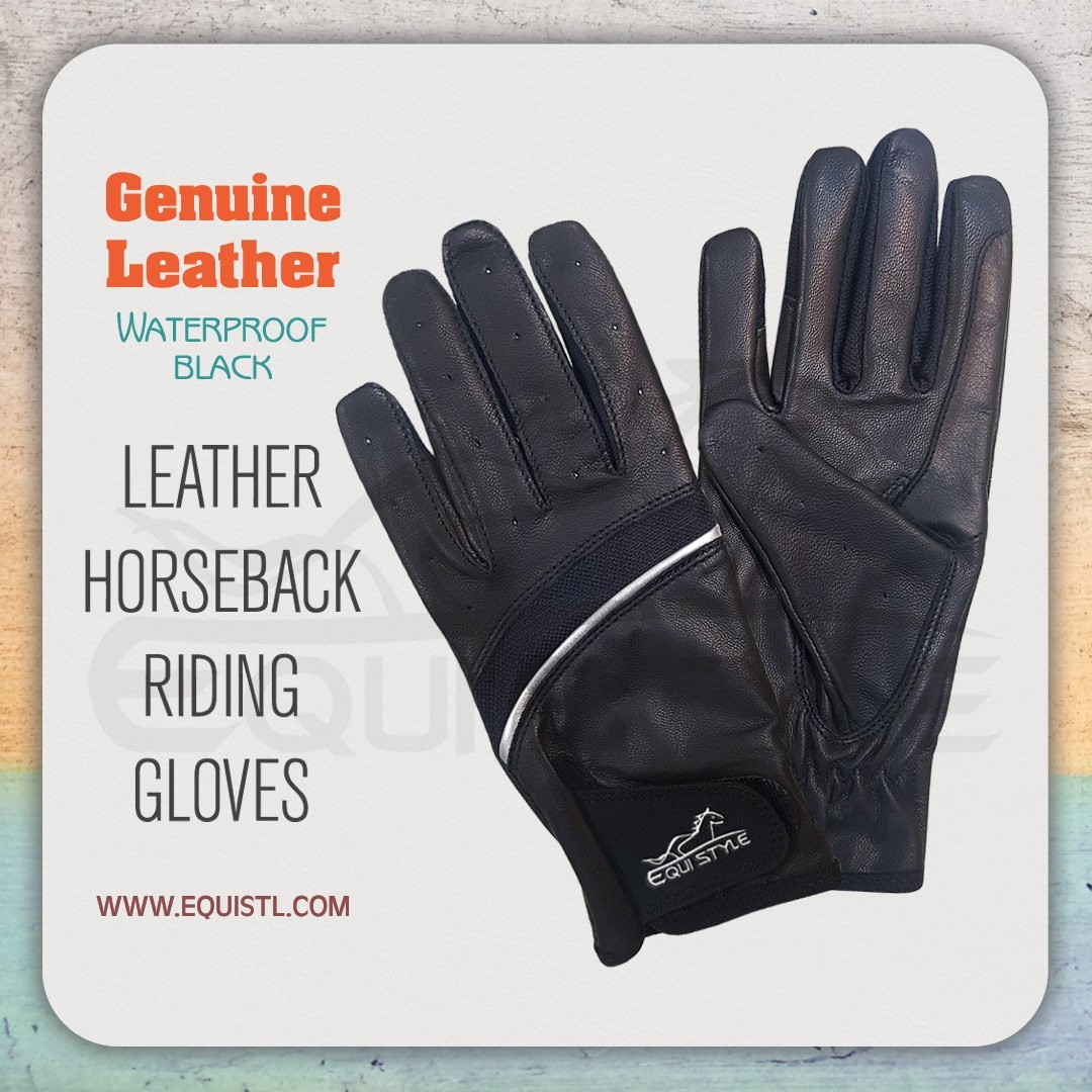 Horse Riding Gloves | Durable Equestrian Gloves Black Unisex Top Quality | Equi Style